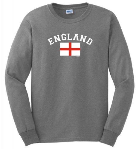 England Pride Country Flag Long Sleeve T-Shirt Medium Sport Grey