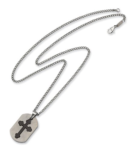 Stainless Steel Black Plated Cross Necklace - 22 Inch - JewelryWeb