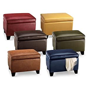 Amazon Com Cordoba Leather Storage Ottoman Textured