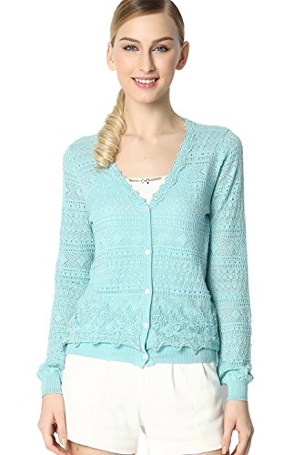 Osa Women V Neck Embroidery Cardigan Sweater Knit Long Sleeve Summer Casual Tops Size M Blue