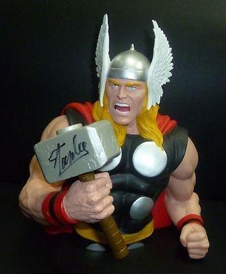 Stan Lee Signed Marvel Thor Action Figure Bank Coa Autograph Avengers