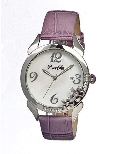 bertha-daisy-ladies-watch-purple-leather-band-silver-bezel-silver-analog-dial-silver-hand