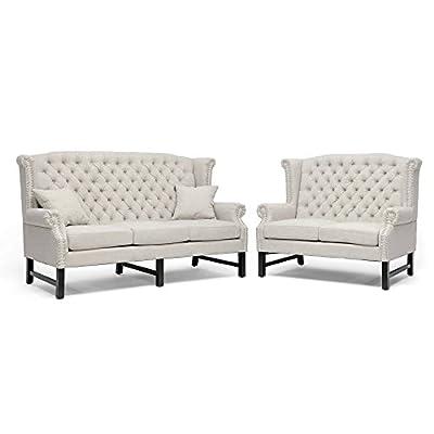 Baxton Studio Sussex Linen Sofa Set