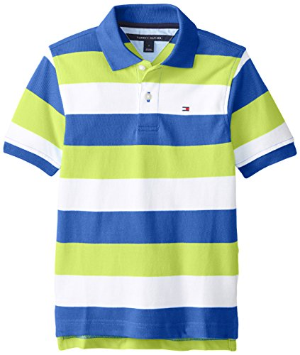 Tommy Hilfiger Little Boys' Short Sleeve Page Stripe Yarn Dye Pique Polo, Blue Jean, 04/Regular