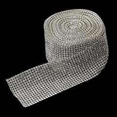 RaeBella Weddings Decorative 16 Row Rhinestone Mesh Ribbon - 5 Yards per roll / spool
