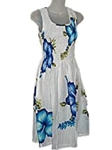 Hawaiian Hibiscus Blue Sun Dress-One Size (S-L) TC087