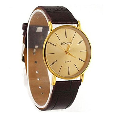 Aokdis (Tm) Hot Selling Luxury Golden Gentle Men Man Leather Band Watch Quartz Wrist Watches