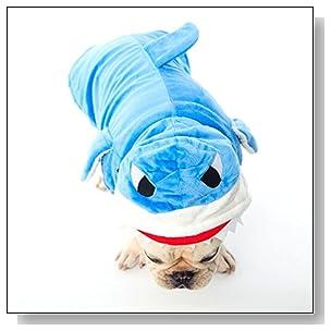 Dogloveit Halloween Shark Costumes Soft Dog Clothes For Dog Cat Puppy Pet, Blue, Small
