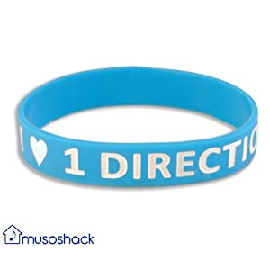 Bright Blue I Love 1 Direction Silicone Wristband One Direction Bracelet 1d from Musoshack