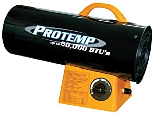 Protemp Portable Fan Forced Variable Output Propane Heater 30000 Btu 1250 Sq. Ft. 10 Ft.