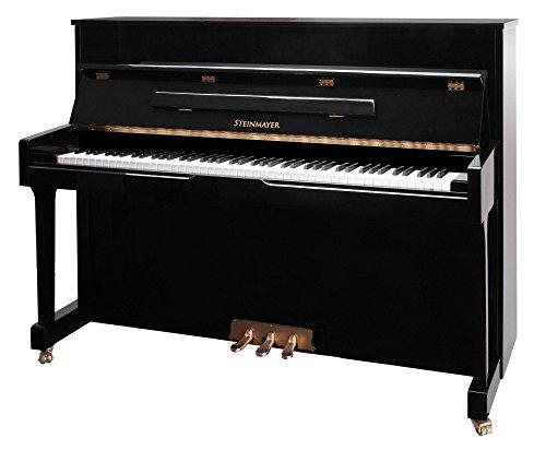 Steinmayer M10 Klavier (akustisches Klavier, hochwertiges Piano mit Markensaiten aus deutscher Fertigung, Klaviatur Ahorn) schwarz Hochglanz