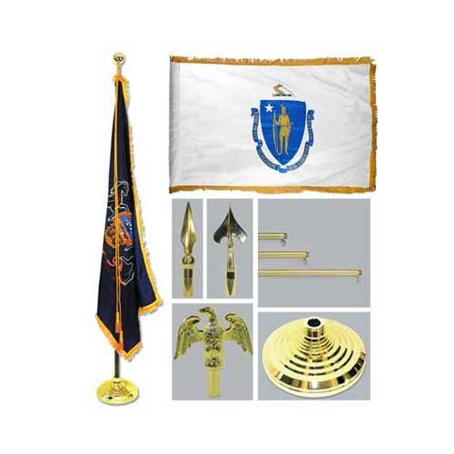 Massachusetts 4Ft X 6Ft Flag Telescoping Flagpole Base And Tassel