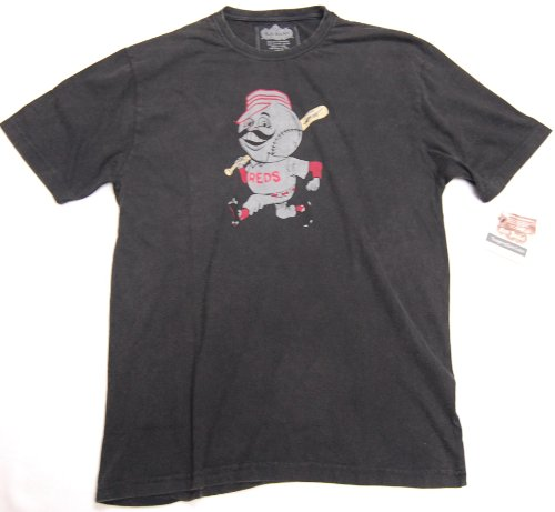 Cincinnati Red Vintage Retro Mr. Red Logo T-Shirt By Red Jacket Size M Color Black at Amazon.com