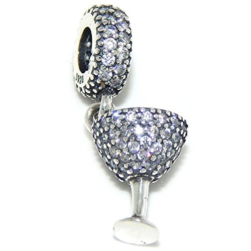 925 Solid Sterling Silver Dangling Clear Crystal Martini Glass Charm Bead