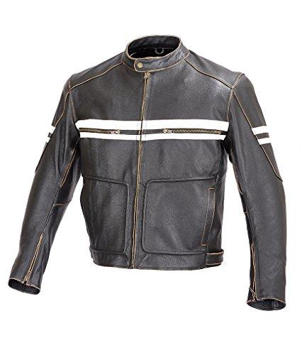 Men Motorcycle Vintage Hand Buffed Leather Armor Jacket Black MBJ031 (L) 0