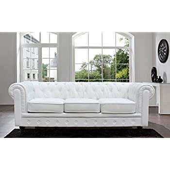 Classic Scroll Arm Tufted Button Bonded Leather Chesterfield Style Sofa (white)