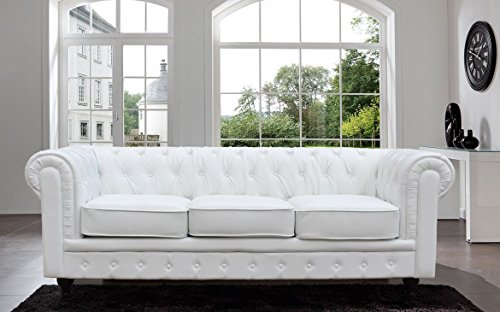 Classic Scroll Arm Tufted Button Bonded Leather Chesterfield Style Sofa (white) 0