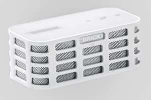 The BRICK - Ultra Portable Mini Wireless Bluetooth Stereo Speakers for All Devices with Bluetooth Capability - 10 hours Playtime (rechargeable battery) / with Built-in Mic for use as a Powerful Handsfree Speakerphone (White)
