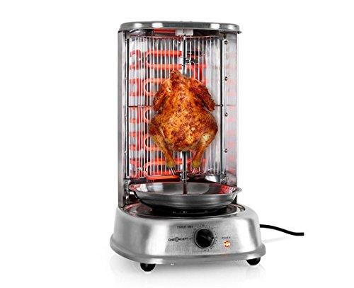 oneConcept Kebab Master - Grill vertical rotatif pour döner kebap, poulet rôti ou brochettes avec set de piques -argent