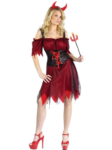 Sexy Black and Red Devil Costume Dress with Horns Womens Theatrical Costume