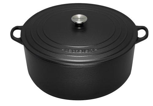 Le Creuset Cast Iron Round Casserole, Satin Black, 34 cm