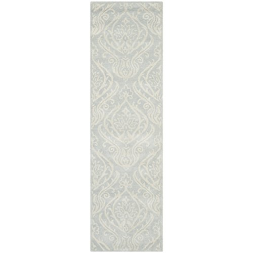 Safavieh Bella Collection BEL445A Handmade Silver and Ivory Wool Area Runner, 2 feet 3 inches by 12 feet (2'3