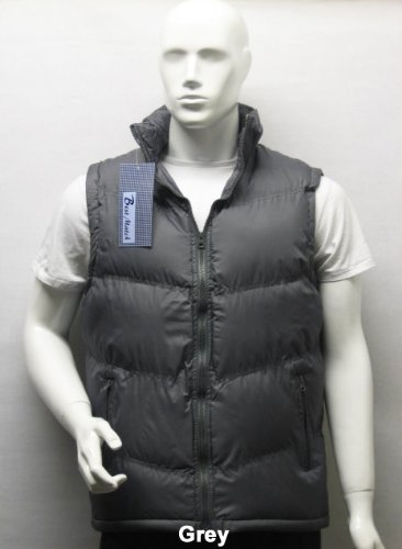 Padded Sleeveless Bodywarmer Gilet Vest Jacket Body Warmer in Grey, Size XL