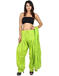 GAURANGI New Women's Plain Light Green Cotton Patiala Salwar With Dupatta Set- Free Size