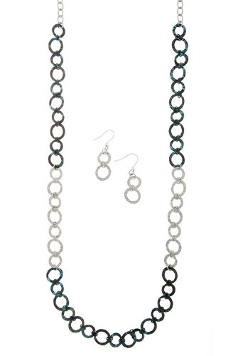 Diva & Duchess Tiny Circle Chain Necklace Set (Silver)