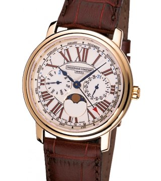 Frederique Constant Multi-Function White Dial Brown Leather Mens Watch FC-270EM4P5