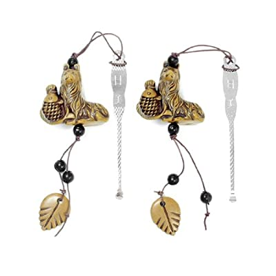 2 Pcs Steel Ear Wax Removal w Removable Brown Beads Leaves Dog Pendants