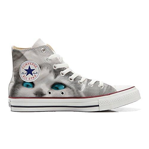 Converse personnalisé All Star Hi chaussures coutume, Sneaker Unisex (produit artisanal) White cat with blue eyes