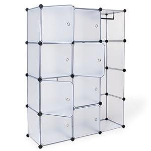 tectake armoire penderie cabinet cubes tag re de rangement modulables plastiques cadre en m tal. Black Bedroom Furniture Sets. Home Design Ideas