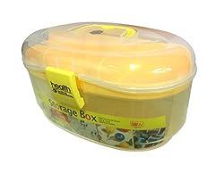 Uteki Multipurpose Semi-Transparent Plastic Storage Box With Handle And Removable Tray -Yellow