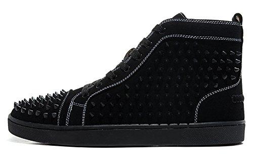garlly Scarpe Unisex Louis orlato Veau Velours Spikes in camoscio nero High Top Sneakers, Uomo, Black, 46