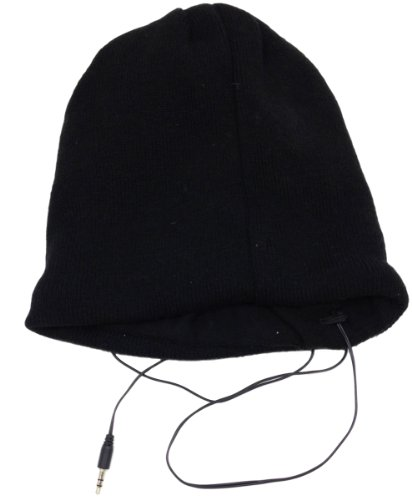 Music Muffs Unisex Audio Fleece Lined Beanie Hat - One Size Black