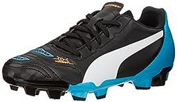 PUMA Evopower 4.2 Firm Ground JR Soccer Shoe (Little Kid/Big Kid) , Black/White/Hawaiian Ocean, 2 M US Little Kid