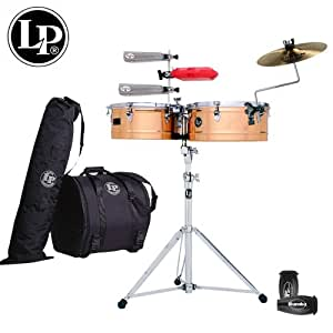 "LP Latin Percussion Prestige Series Timbales Set - 14"" & 15"" Bronze Shells - Includes: Heavy-Duty Stand, Cowbell Bracket, Timbales Stick, Tuning Key, LP201BK-P LP Rumba Shaker, LPES6 & LPES7 Salsa Cowbells, LP1207 Jamblock, LP539-BK Gig Bag Set, LP592S Splash Claw & Sabian 13"" AA Splash Cymbal"