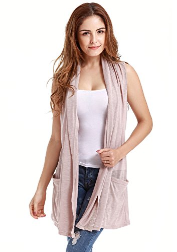 VESSOS Women Vests Sleeveless Open Front Shawl Collar Shrug Jersey Vest Cardigan M Beige