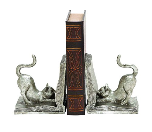 Benzara 78817 Adorable Silvery Shiny Cat Bookend front-584150