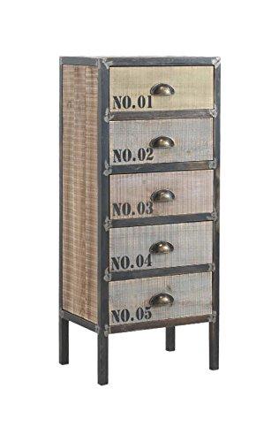 GEESE 7598-Cassettiera, ferro e legno, 5 cassetti