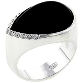 Sterling Silver Pear Cut Onyx Ring