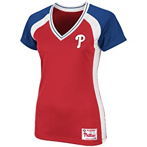 MLB Majestic Philadelphia Phillies Ladies Opal Synthetic Premium T-Shirt - Red by Majestic