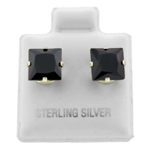 Sterling Silver Black Square CZ Studs-3mm Jewelry Earrings