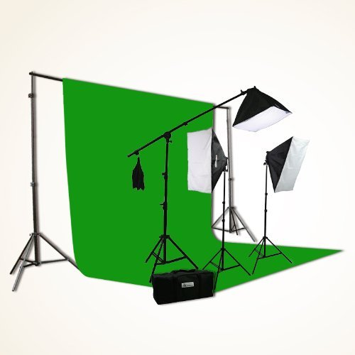 ePhoto-H9004SB-1012G-ChromaKey-Green-Screen-Video-Photography-Boom-Stand-Lighting-Background-Support-Kit