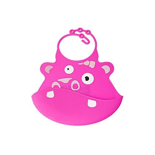 ALEKO-SBB03PN-Stain-Resistant-Waterproof-Silicone-Front-Pocket-Baby-Bib-Fun-Cartoon-Face-Feeding-Bib-Pink