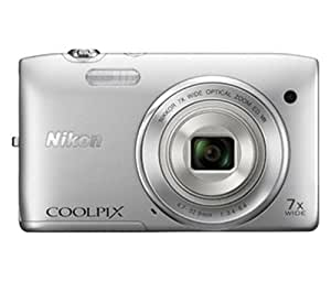 Nikon Coolpix S3500 20.1MP Point and Shoot Digital Camera (Silver) with 7x Optical Zoom, 4GB Card and Camera Pouch