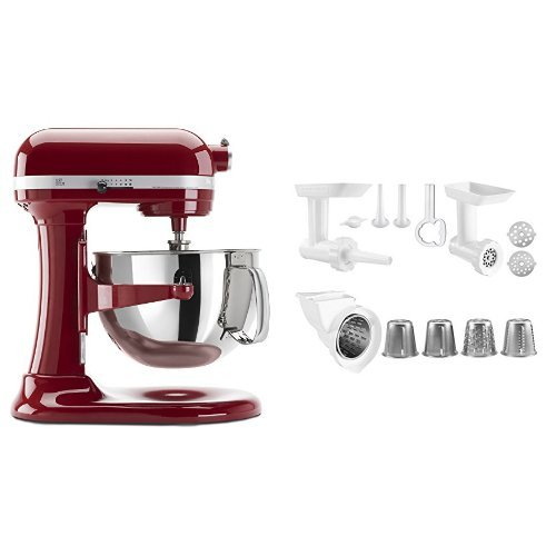KitchenAid KP26M1XER 6 Qt. Professional 600 Series - Empire Red and KitchenAid KGSSA Stand Mixer Attachment Pack 2 with Food Grinder, Rotor Slicer & Shredder, and Sausage Stuffer Bundle (Kitchen Aid Stand Mixer Bundle compare prices)