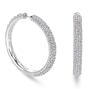 14k White Gold 3.84 Dwt Diamond Hoop Earrings 40mm - JewelryWeb