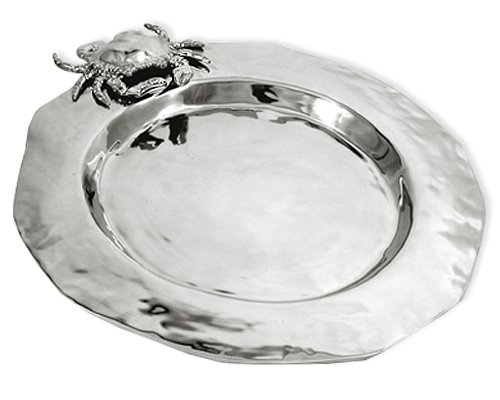 Coastal Christmas Tablescape Décor - Large crab silver aluminum alloy service plate by Beatriz Ball